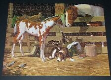 "LEANIN' TREE JIGSAW PUZZLE ""BARNYARD BUDDIES"" PAINT HORSE MARE FOAL CATS DOG CIB"