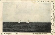 SAILBOAT YACHT RACE ON LAKE ONTARIO POSTCARD c1906