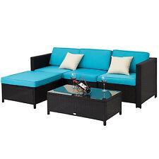 5PCs PE Rattan Wicker Patio Sofa Furniture Set Outdoor Garden w/ Cushions