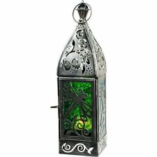 Glass & Metal T-light Candle Holder Dragonfly Kheop's Lantern Green