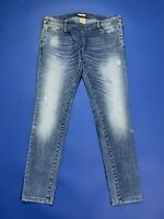 Please jeans donna usato skinny stretch aderenti L strappati destroyed T4869