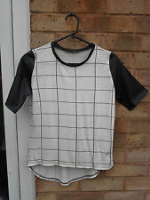 ATMOSPHERE PRIMARK ladies womens checked summer top size 10 leather look casual