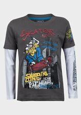 New Boys Grey T-Shirt Skateboard Theme Long Sleeve Ages 5 - 14 Free P+P