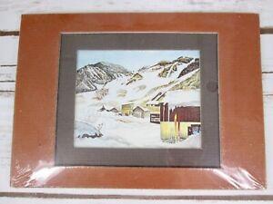 Bill Alexander Watercolor Lithograph Print Art Aspen Winter Matted Brown New