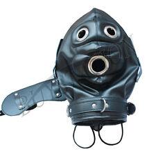 Lockable Faux Leather Gimp Bandage Hood Sensory Deprivation Mouth Mask Blindfold