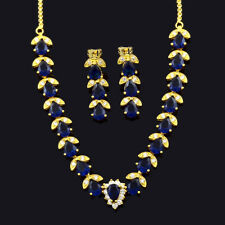 Jewelry Set Oval CZ Blue Sapphire 18K Yellow Gold Plated Stud Earrings Necklace