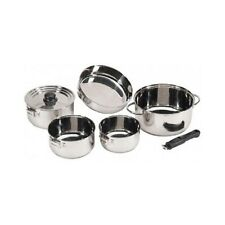 7 Pc Stainless Steel Camping Cookware Premium Pots & Pans Nesting Easy Store Set