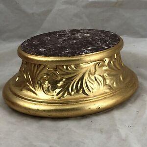 Base  Legno Foglia Oro porporina Madonna Santo Intaglio 12x15x8cm cm ovale