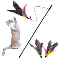 1Pc Pet Cat Toy Kitten Dangler Rod Wand Teaser Teasing Feather Bell Stick.