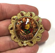 Vintage Estate Rhinestone & Yellow & Red Enamel Rose Flower Brooch Gold F207c