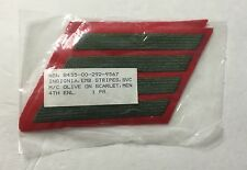 USMC MARINE CORPS RED GREEN 4 SERVICE STRIPES HASH MARKS SET PAIR NEW 16 YEARS !