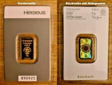 Goldbarren 5g Gramm HERAEUS 5 g Barren GOLD 999,9% Barren in Blister 890925