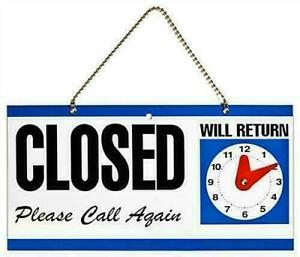 Open Closed Close Hanging Shop Sign Plastic Double Sided Return Time Clock UK