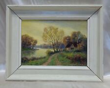 """20th Century British Artist Stephen Sims """"Cottage by River"""" 1940's Oil Painting"""
