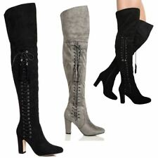 WOMENS LADIES OVER THE KNEE THIGH HIGH BLOCK HEEL SIDE LACE ZIP BOOTS SHOES SIZE