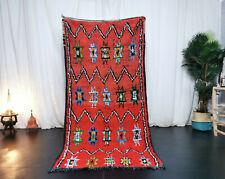 """Vintage Moroccan Tribal Handmade Carpet  3'7""""x7'7"""" Berber Floral Red Wool Rug"""