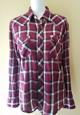 Womens Western Top Pearl Snap Shirt Salt Valley Plaid Red Long Sleeve Cotton M