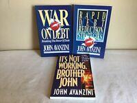 Vintage Mixed Lot Of 3 1990s Paperback John Avanzini War On Debt Rapid Debt