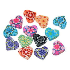 50PCs Mixed Polymer Clay Flower Heart Charm Beads 15mm x13mm