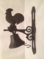 Large Cast Iron Rooster Door Bell Vintage Style Wall Mounted 02123