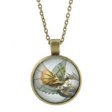 New Vintage Dragon Image Cabochon Glass Copper Pendant Necklace Jewelry Fashion