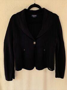 Saint James Womens Size 8 Navy Blue Cardigan Collared Wool Sweater Blazer France