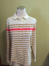 Talbots Ivory Tan Pink Striped Peter Pan Collar Blouse Top 6 Excellent