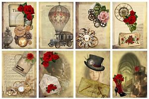 STEAM PUNK 2 - 2 x A4 SHEETS OF CARD TOPPERS -  SCRAPBOOKING - 250GSM