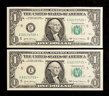 UNC 2017 Federal Reserve Star Notes United States Richmond Consecutive 1 Dollar