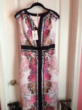 "NWT Ted Baker Painted Rose Fitted Midi Dress ""3"" Baby Pink"