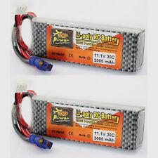 2Pcs 11.1V 3000mAh 3S 30C LiPo Batterie pour RC Blade 350QX 450 F-27Q Extra 300