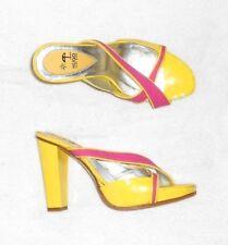 HUGO BOSS mules cuir verni jaune & toile rose P 38 TBE