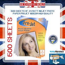 100 Sheets of ProJet A4 Inkjet Photo Paper 190 GSM Matt Instant Dry