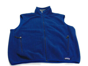 Patagonia Vest Blue Gray Full Zip Polyester Synchilla Zip Pockets Mens Large