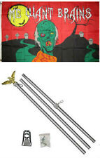 3x5 Happy Halloween Zombie Wants Brains Flag Aluminum Pole Kit Set 3'x5'