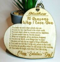 Personalised Wooden Heart 10 Reasons Why I Love You Valentine's Gift