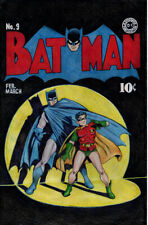 Batman issue #9 Golden Age cover art redraw in Colored Pencils original FRAMED!