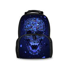 Blue Skull Satchel Backpack Women Rucksack School Bag For Teenagers Girls Boys