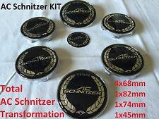 7x AC SCHNITZER Pass For Bmw Badge Emblem Set Wheel Centre 7x Caps e60 e61 e46