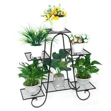 Black Wrought Iron Metal Plant Stand Holds 6 Flower Pot Rack Indoor Outdoor AU