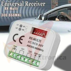RICEVENTE UNIVERSALE RADIO RICEVITORE TELECOMANDI MULTI RX 12-30V 300 o 868 Mhz