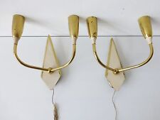 PAIRE D'APPLIQUES DOUBLE TYPIQUE 1950 VINTAGE ROCKABILLY 50S VTG WALL LIGHTS