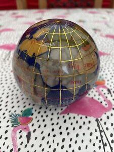 Blue Gemstone World Map Globe Paperweight Semi Precious Stone