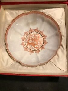 EGG SHELL CHINA BOWL IN ORIGINAL BOX HAND PAINTED WITH GOLD HIGHLITES  7IN.DIAM.
