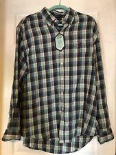 NWT - U. S. Polo Assn Men's Flannel Shirt - Size XL - Gray/White/Teal Plaid