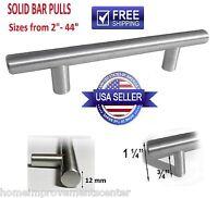 5, 10 - 50 Pack Solid Bar Pull Brushed Nickel Steel Kitchen Cabinet Door Handles