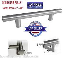 5, 10 - 25 Pack Solid Bar Pull Brushed Nickel Steel Kitchen Cabinet Door Handles