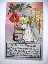 "1908 ""M.G.Hays"" Christmas Post Card w/ Little Girl Saying X-Mas Prayer - Used *"