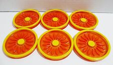 Retro Style Orange and Yellow Drink Coasters - Set of 6 - Daisy Pattern