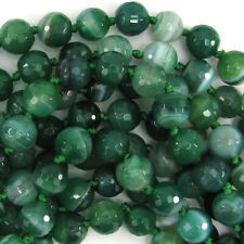 """10mm faceted green stripe agate round beads 15"""" strand"""